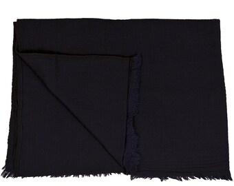 Woollen Throw - Dark Blue. Reverse the same. Handmade in Kashmir, India