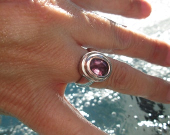 Amethyst Ring in Sterling Silver Size 6