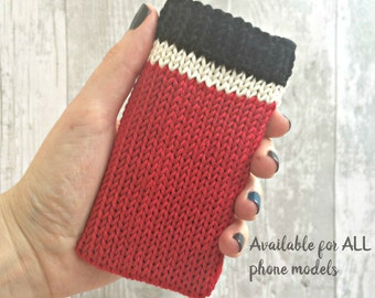 Red iPhone Case, Cell Phone Holder, Custom Phone Case, Samsung Galaxy s7 Edge Case, Knitted Gifts, Gift for Dad, Smartphone Case, ALL SIZES