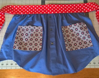 Blue and Red Polka Dot Apron