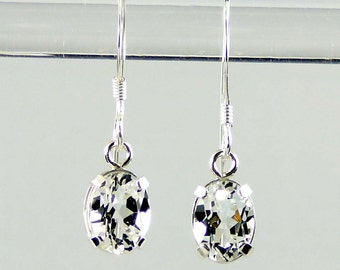 White Topaz, Genuine Natural  Kidney Wire Dangle Earrings 925 SS Sterling Silver 2.00CT