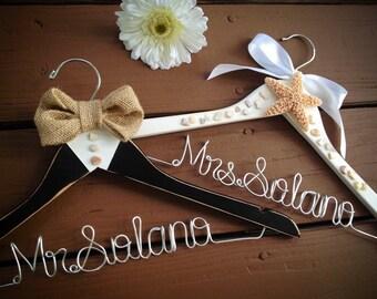 Bride and Groom Hanger Set, Beach Theme Wedding, Distressed Hangers, Burlap Hanger, Bridal Hanger, Groom Hanger, Starfish, Get QUICK