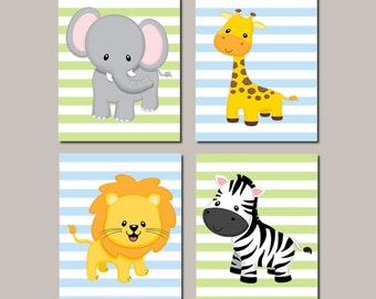 JUNGLE Nursery WALL ART Decor Elephant Giraffe Lion Zebra Baby Boy Nursery Picture Zoo Animals Baby Shower Gift Set of 4 Prints Or Canvas