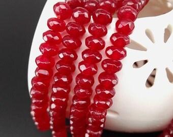 Full Strand 6x4mm 90pcs Burgundy Agate Faceted Rondelle Beads Agate Gemstone Beads