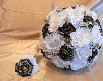 Camo Wedding Bouquet, Camo Bridal Bouquet, Camo Wedding, Mossy Oak Camo, White Silk Flowers, Camo Wedding, Bullet Shells