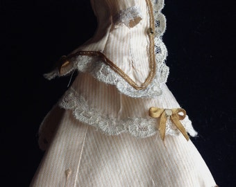 """Antique reproduction lined silk Fashion doll dress for 6"""" doll."""