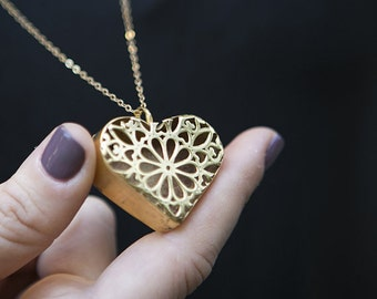 Gold Heart Necklace, gold pendant necklace, gold big heart to shape little minds, Most Popular Gifts for women, heart pendant necklace