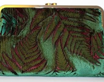 Clutch Bag in a Green Iridescent Velvet Botanical Fern Design
