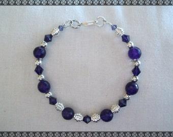 purple bracelet, dark purple bracelet, jade bracelet, swarovski