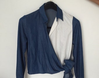 Color block two tone blouse shirt crop tie knot cotton shirt