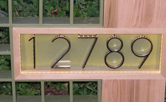 Mid Century Modern Marque Address Plaque By Midcenturywoodshop