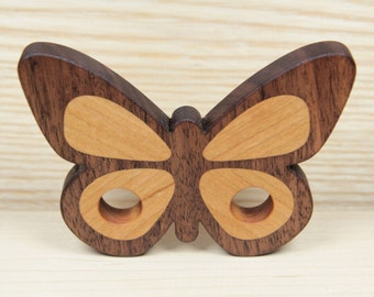 Personalized Butterfly Teether, Wooden Teether, Natural Wood Teether, Organic Wood Teether, Baby Toy, Wooden Teething Ring, Grasping Toy