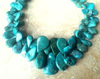 Turquoise Necklace, Natural Turquoise Necklace, Bold and Chunky Fringe Nugget Turquoise