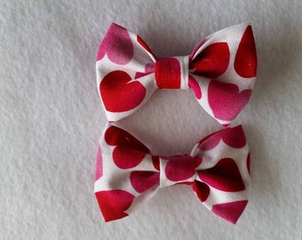Mini Valentine Hair Clips Set of 2 Hearts Hair Clips