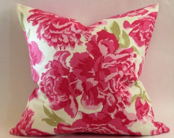 Peonies Pillow Cover in Hot Pink