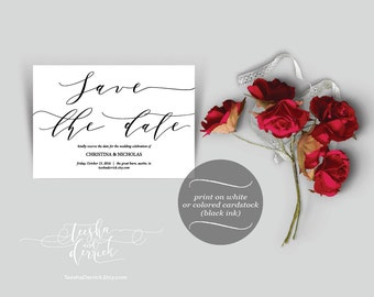 Save The Date Instant Download Printable Card Template, in PDF with typography theme (y0136)