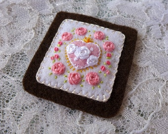 Sacred Hearts and 7 Pink Roses - Hand Embroidered Brown Scapular