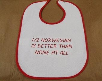 Scandinavian Embroidered Baby Bib - 1/2 Swedish Norwegian Danish Finnish is better than None at all