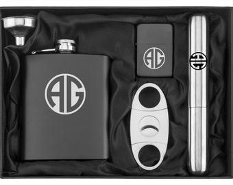 Monogram Engraved 7oz Stainless Steel Flask Funnel Cigar Cutter Lighter MATTE BLACK Personalized Custom Groomsman Best Man Groom Wedding