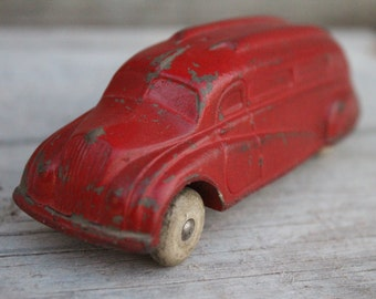 Sun Rubber Company Art Deco Style Red Toy Passenger Bus