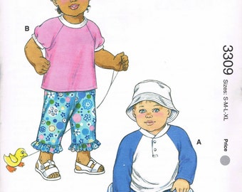Size XS-XL Baby Sewing Pattern - Pull On Pants Or Shorts Pattern - T Shirt Pattern - Bucket Hat Pattern - Sewing For Babies - Kwik Sew 3309
