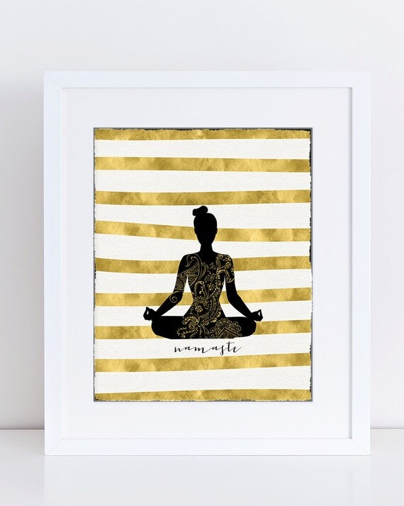 Black and Gold Decor Yoga Poster Digital Contemporary Home