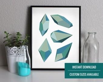 Blue Gem Printable   Instant Download Art   Affordable Home Decor   Blue Wall Art Printable   Downloadable Art