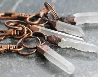 Crystal Keychain Electroformed Key Clip Raw Crystal Key Ring Copper Key Clip Copper Rustic Natural