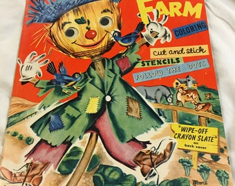 1950s Vintage Fun on the Farm Coloring, Cut and Stick Activity Book, Clean, never used