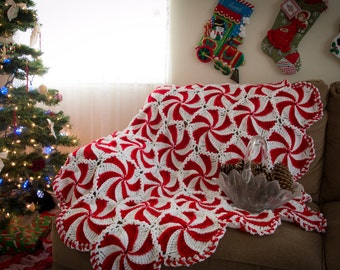 Peppermint Delight Red and White Christmas Afghan