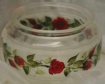"""9"""" Frosted, Red rose Bowl"""