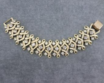 Coro Rhinestone Bracelet Vintage Coro Jewelry Wide Gold Bracelet Jewelry Vintage Bridal Jewelry