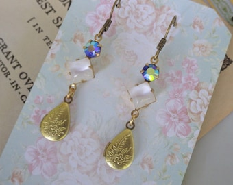 Small ~ White Opal Earrings ~ White and Blue ~ Earrings ~ Vintage Glass ~ Vintage Lockets ~ by LadyofTheLakeJewels