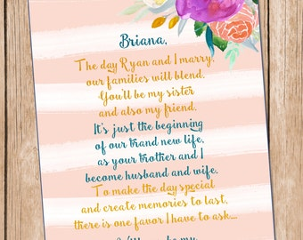Will You Be My Bridesmaid, **DIGITAL FILE** Sister In Law Card, Bridesmaid Card