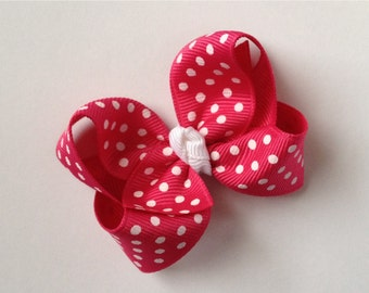 Small 2.5 inch Shocking Pink and White Dot Hair Bow