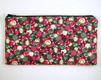 Colorful Button Zipper Pouch, Gadget Bag, Make Up Bag, Pencil Case