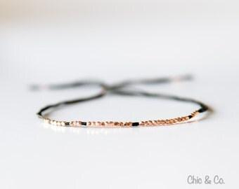 Rose Gold and Silk Bracelet. Fine Silver Bracelet. Friendship Bracelet. Wish Bracelet. Men's Bracelet
