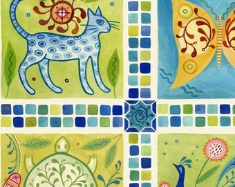 Folk Art Animal Panel, Fauna Tiles - Azuli by Julie Paschkis for In The Beginning - 1JPG Blue Teal - Priced by the Panel