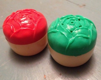 Little Rose Salt and Pepper Shakers Vintage Plastic Red and Green