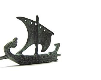 Greek verdigris bronze trireme warship  , Bronze sculpture of bireme