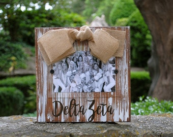 Delta Zeta Whitewashed Rustic Frame