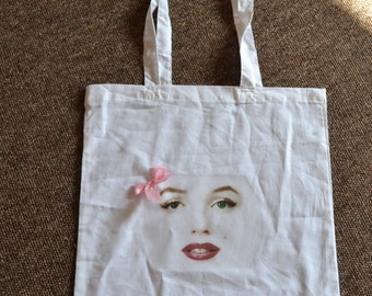 Marilyn Monroe white cotton tote shoulder bag