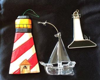 Nautical Christmas Ornaments Lighthouses and Boat. Coastal