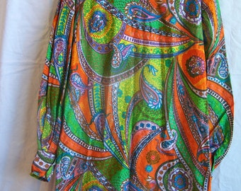 "1960s vintage paisley dress, 38"" chest"