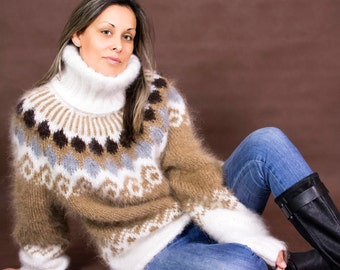Hand Knit Mohair Sweater Icelandic Norwegian Beige Fuzzy Turtleneck Jumper Pullover Jersey by EXTRAVAGANTZA * MADE to ORDER *