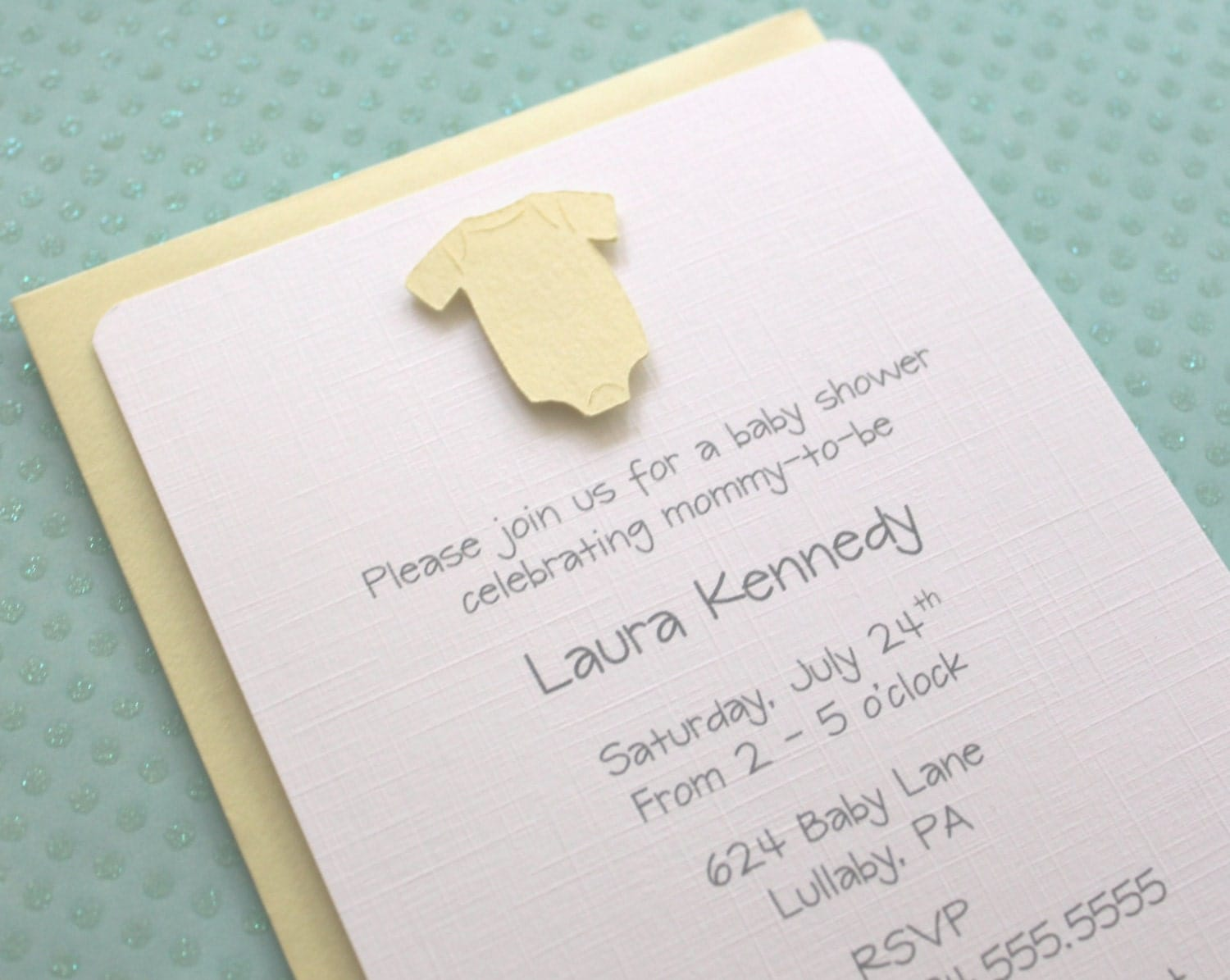 Gender Neutral Baby Yellow Onesie Baby Shower Invitations - Yellow ...
