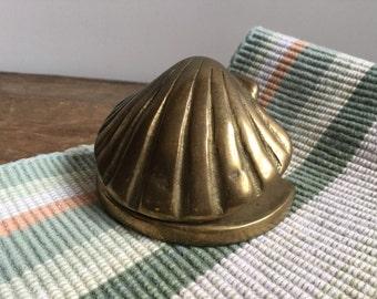Brass Sea Shell Paper Clip Napkin Holder Ocean Office Decor