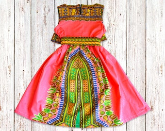 Ankara Girl's Dress sizes 1 month - 8 years, Children's African Dashiki Print Gathered Dress with Belt with Optional Alice Band