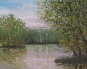 Pond In Late Summer, ACEO, original oil painting