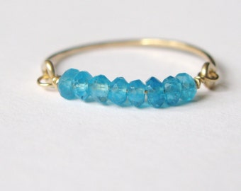 Delicate neon blue apatite ring-neon apatite gold filled stacking ring-thin band gold filled ring with neon apatite bead